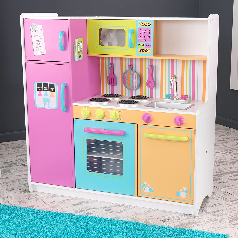 93e3e6954a7a KidKraft 53100 Cocina de juguete Deluxe Big and Bright de madera para niños  con accesorios de juego y teléfono de juguete incluidos - Colores  brillantes: ...