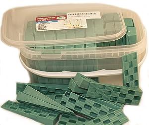 "Plastic Wedge - for Using as Door Wedges, Window Wedges, Flooring Spacers - Universal Plastic Shims - 4.5""?1.2""?0.7"" - Green - 85 per Pack"