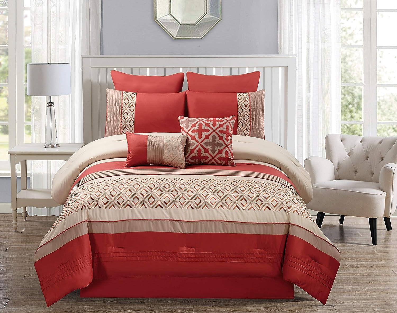 Riverbrook Home 8000 8-Piece Comforter Set, Queen, Janna - Orange