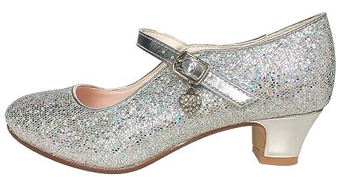 5aa6e9056 La Señorita Zapato Elsa Frozen plata corazón purpurina Flamenco Sevillanas  de la princesa niña  Amazon.es  Zapatos y complementos