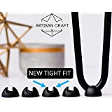 Hairpin Leg Protector Feet - Set of 8 - Black - New Tight Fit for 3/8 and 1/2 Metal Coffee Table Legs - Hairpin Leg Feet