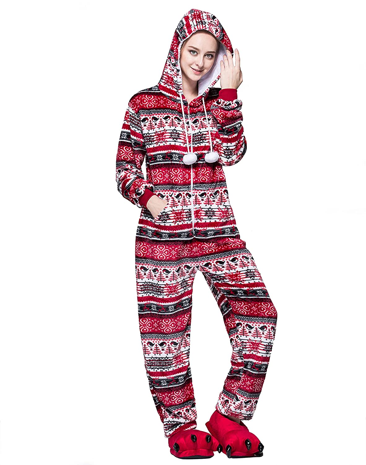 Plus Size Christmas Pajamas.Adult Onesie Pajamas For Women Or Men Christmas With Plus
