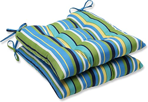 Pillow Perfect Outdoor Indoor Topanga Stripe Lagoon Tufted Seat Cushions Square Back , 19 x 18.5 , Blue, 2 Pack