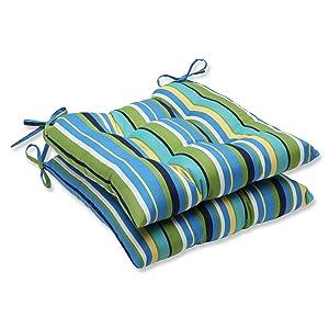 Pillow Perfect Outdoor Topanga Stripe Lagoon Wrought Iron Seat Cushion, Set of 2