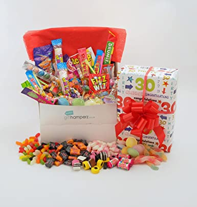 Quot Happy 30th Birthdayquot Gift Wrapped Retro Sweet Hamper Box Male Or Female Themed