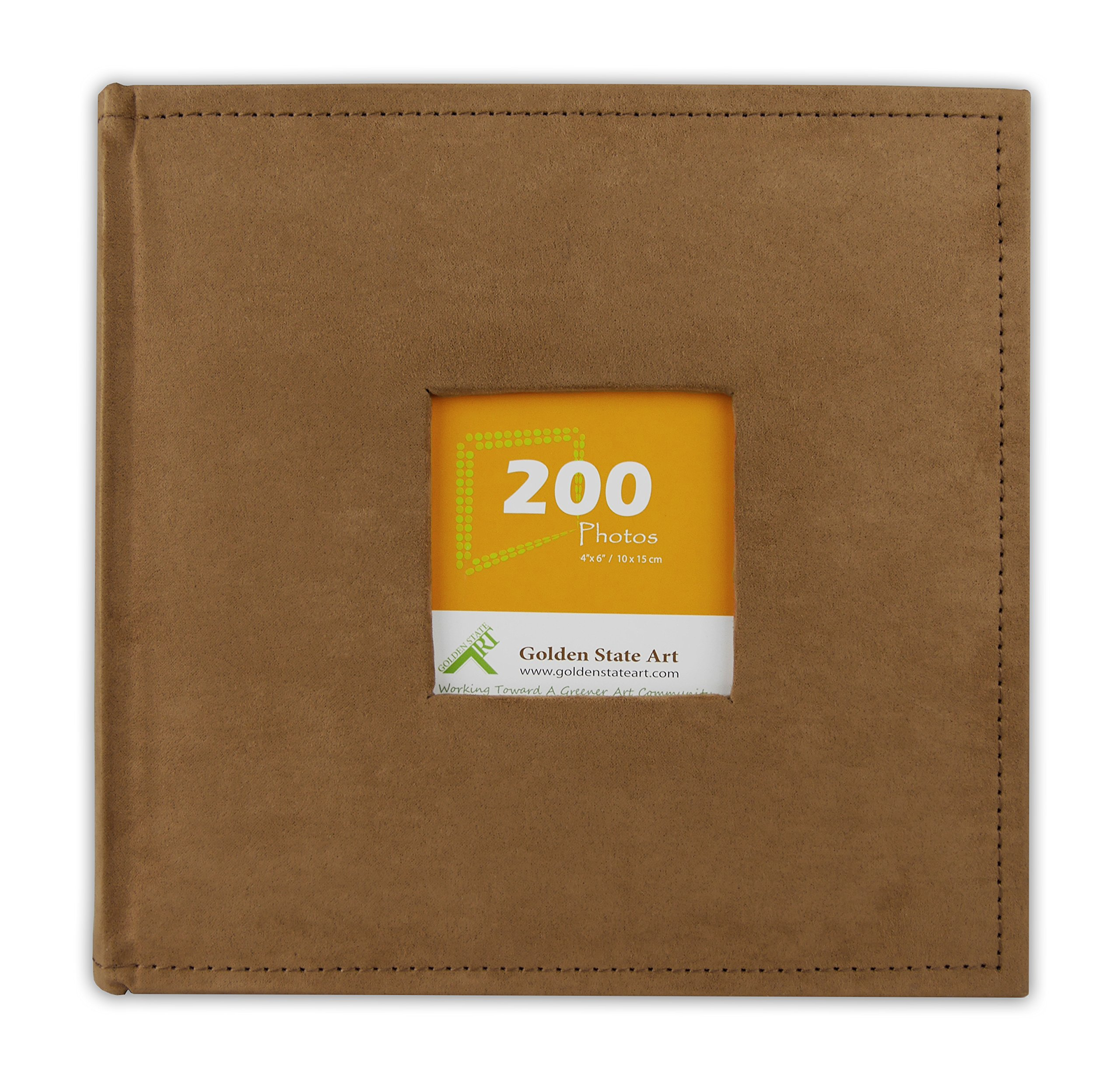 Golden State Art Photo Album, Holds 200 4''x6'' pictures, 2 per page, Suede Cover, Rusty Bronze