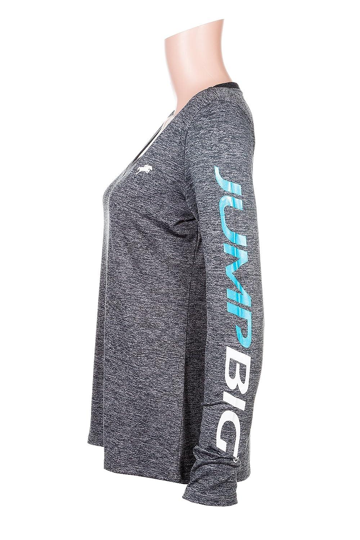 Medium Grey JBDVNLS333 Jump Big Womens Dry Fit Shirt V Neck Long Sleeve