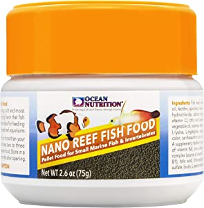 Ocean Nutrition Nano Reef Fish Food, Pellet Food for Small Marine Fish & Invertebrates 2.6-Ounce (75 Grams) Jar