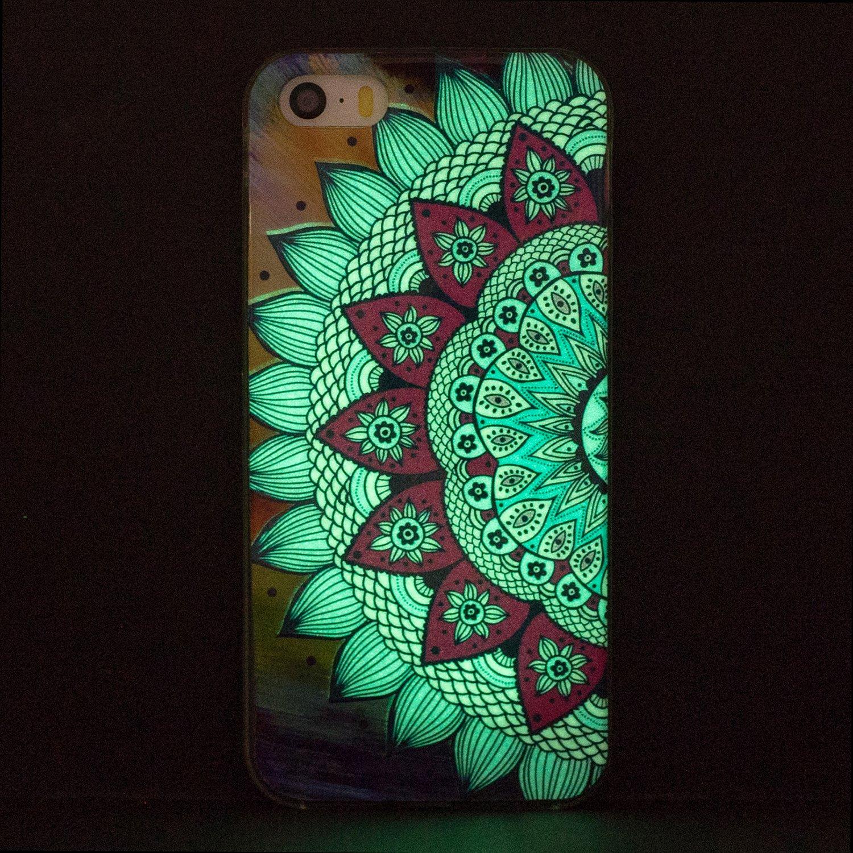 4 H/ülle Leuchtende iPhone SE//5s//5 Silikon Etui Handy H/ülle Weiche Transparente Luminous TPU Back Case Tasche Schale Leuchten In Der Nacht F/ür Apple iPhone SE//5s//5 A Schl/üsselanh/änger