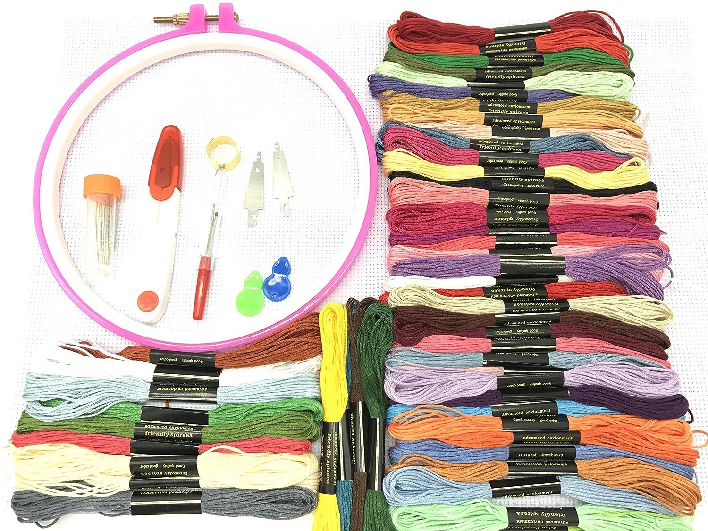Demiawaking 50 Colori Matassine Fili da Ricamo per Punto Croce a Mano Mestiere di cucito