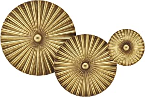 """Metal Circle Pieces Wall Art, Metal Wall Decor, Hanging Sculpture Decorations for Farmhouse, Bedroom, Living Room, Cottage, Set of 3, 12"""" 10"""" 6"""" Inch, Gold"""