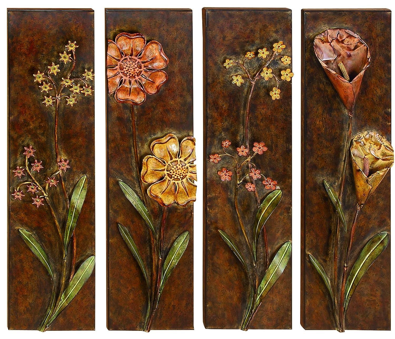 Amazon.com: UMA Floral Designed Metal Wall Decor (Set of 4): Home ...