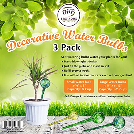 Amazon Com Watering Bulbs For Plants 3 Pack Blown Glass