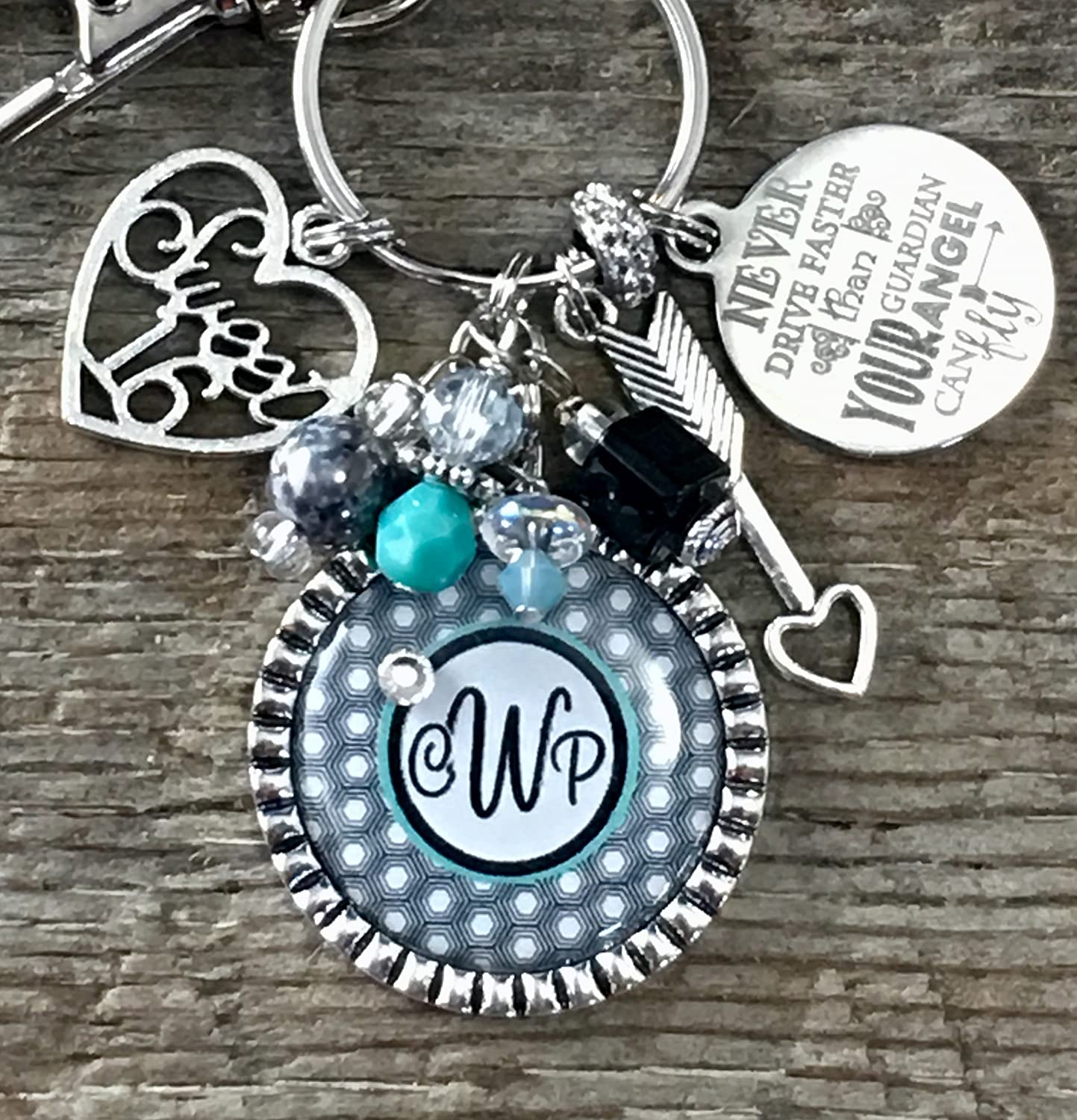 Sweet 16 Key Chain MONOGRAM Never Drive Faster Than Guardian Angel Can Fly Birthday Gift
