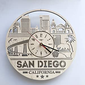 California San Diego Wall Clock Made of WOOD - Kitchen Nursery Bedroom Decor - Perfect and Beautifully Cut - Decorate your Home with MODERN WALL GYM ART - UNIQUE GIFT for Him and Her - Size 12 Inch