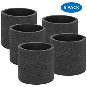LINNIW 5 Pack 90585 Foam Sleeve VF2001 Foam Filter For Wet Dry Vacuum Cleaner, Fits Most Shop-Vac, Vacmaster,Genie Shop Vacuum Cleaners