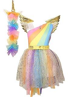 La Senorita Vestito Unicorno Costume Abito Arcobaleno Principessa Tutu +  Collana + Fascia per Capelli ( a14d37003987