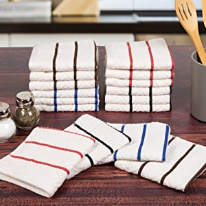 Lavish Home 100% Combed Cotton Dish Cloths Pack-Absorbent Chevron Weave with Color Accents-Kitchen Dishtowels, Cleaning/Drying (16 Pack-Multi)