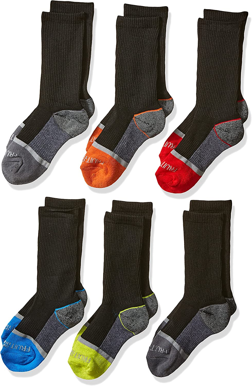 Large Shoe Size: 3-9 Black Fruit of the Loom Boys Big 6-Pair Half Cushion Crew Socks