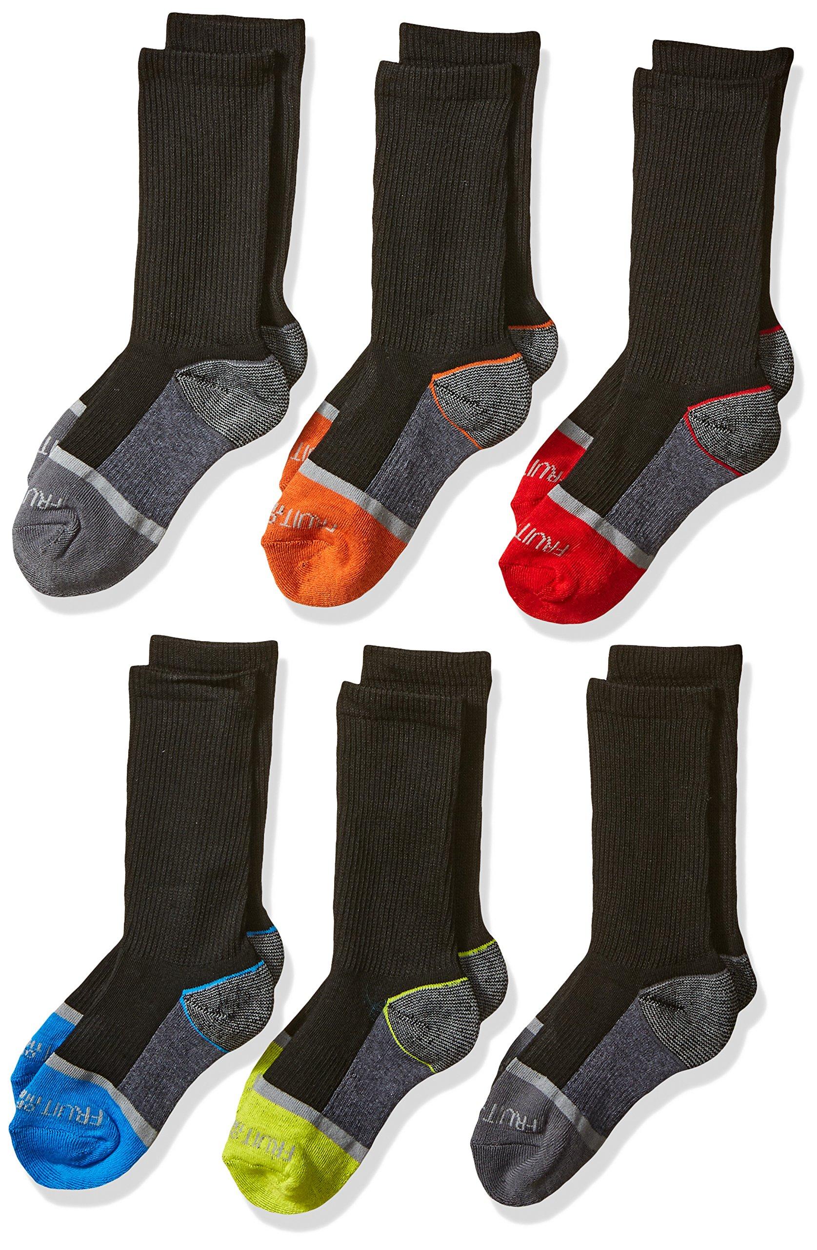 Fruit of the Loom Big Boys' 6-Pair Half Cushion Crew Socks, Black Assort, Shoe Size: 3–9 (Large)
