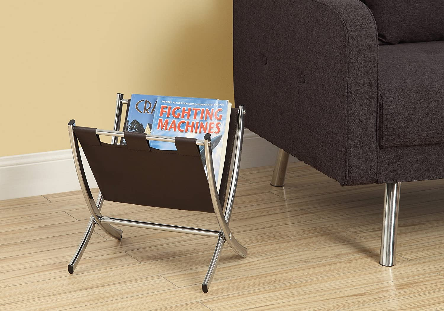 Monarch Specialties I 2034 Leather-Look Metal Magazine Rack, Black/Chrome