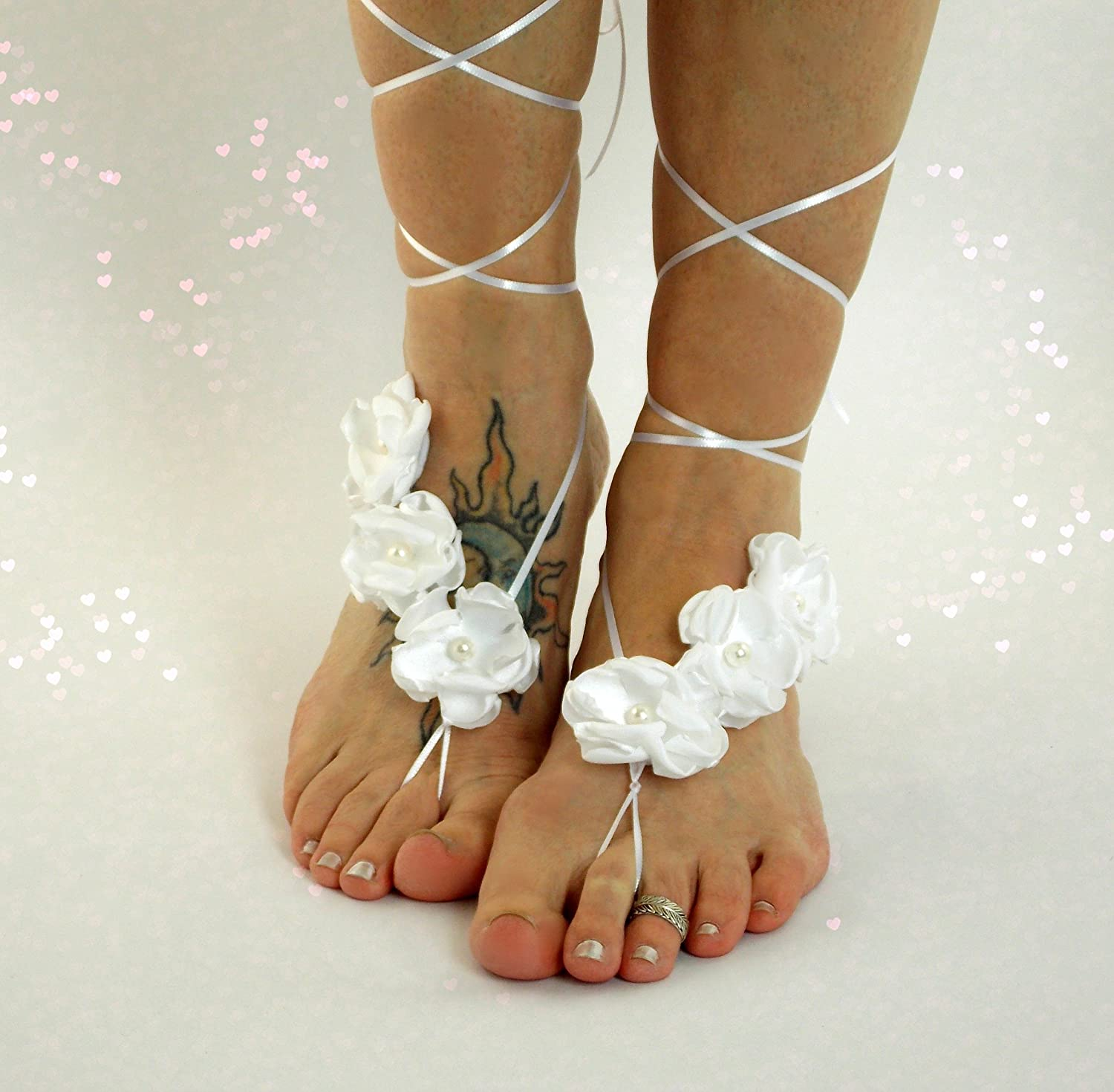 e61ac36ea7a5a Amazon.com  Stretch Ribbon Lace Up Barefoot Sandals (Flower Color Options)   Handmade