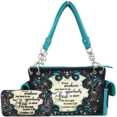 04d3dabf6131 Amazon.com: Embroidery Bible Verse 2 Corinthians 12:9 Purses Country ...
