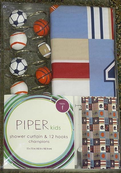 Piper Kids Champions Sports Shower Curtain Hooks