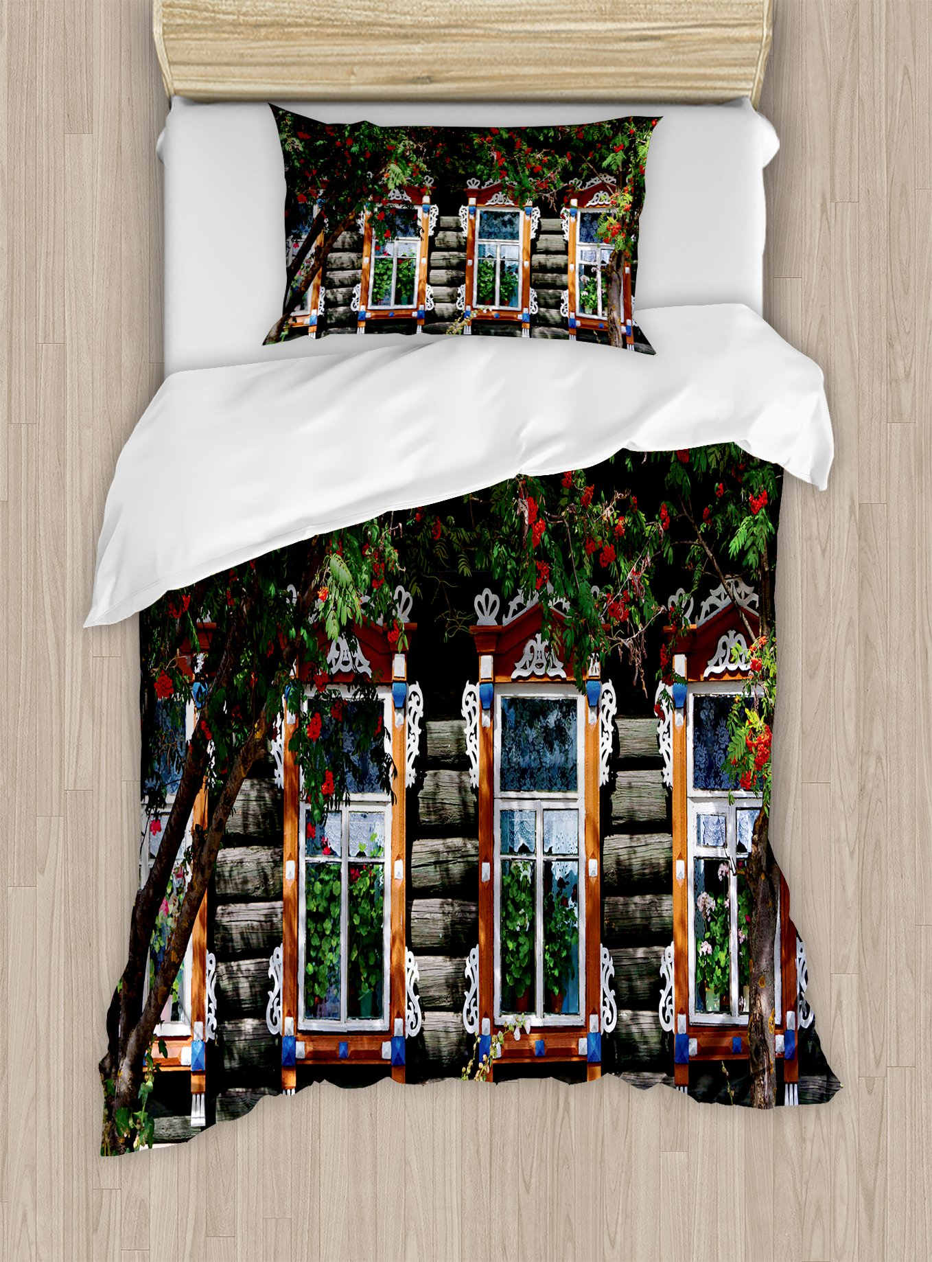 Ambesonne Shutters Duvet Cover Set Twin Size, Wooden House with Shutter at Windows Fence Flower Trees Blooms Dream Art, Decorative 2 Piece Bedding Set with 1 Pillow Sham, Red Green Brown