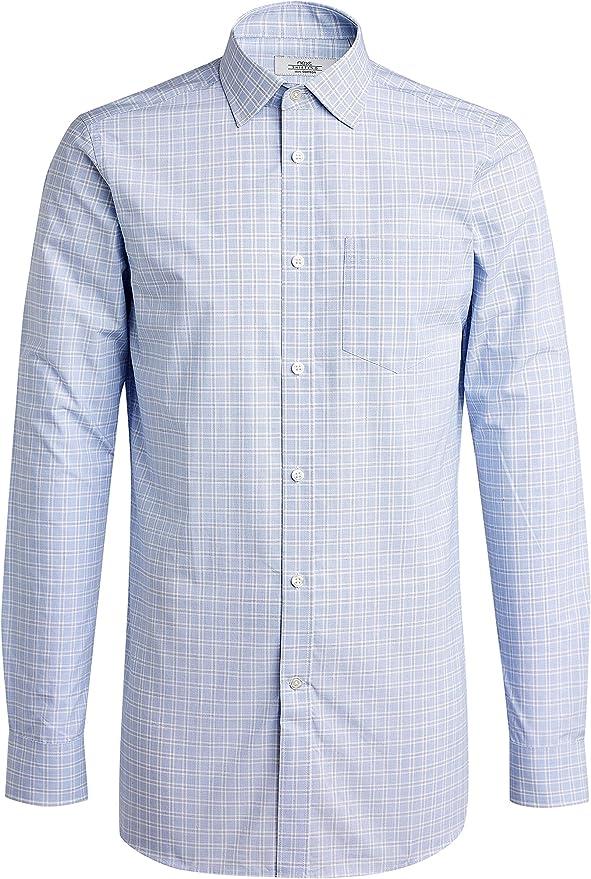 next Hombre Camisa De Cuadros Estampado Príncipe De Gales - Corte Ajustado Puño Simple Azul 19R: Amazon.es: Ropa y accesorios
