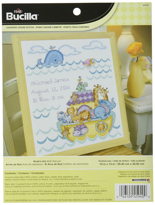 Bucilla Noahs Ark Birth Record Counted Cross Stitch Kit Amazon