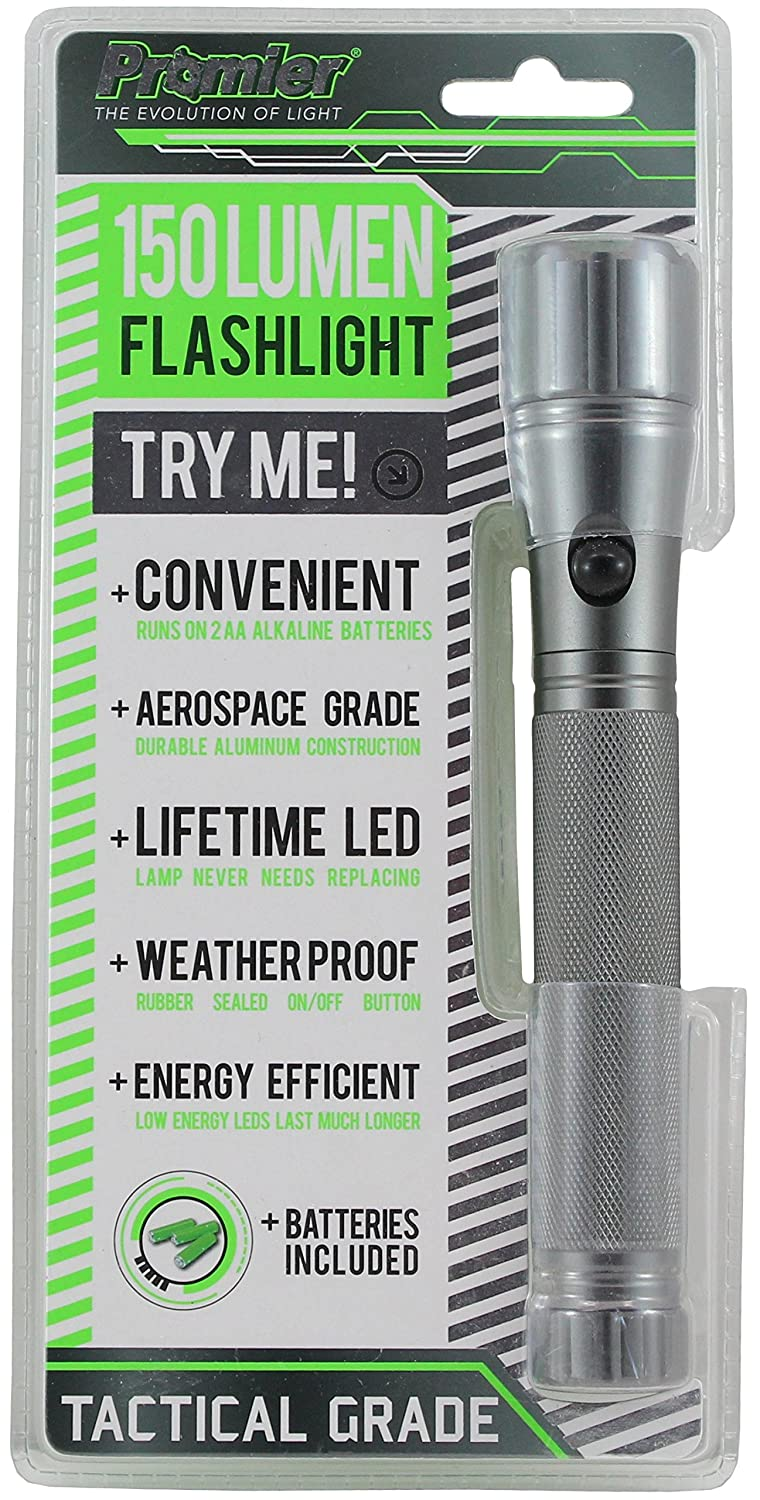 Batteries Included Tactical Grade Promier 115 Lumens LIFETIME LED Flashlight 115 Lumen Energy Efficient 14 LEDs