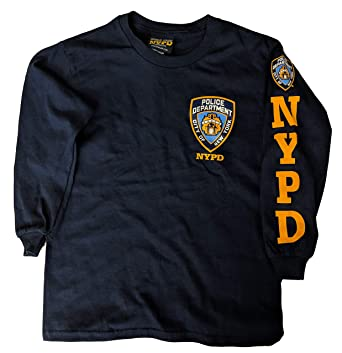 a6ab48127 NYC FACTORY NYPD Kids Long Sleeve Screen Print Chest Badge T-Shirt Navy  Yellow XS