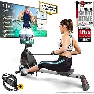 Sportstech RSX400 Máquina de Remo - Marca de Calidad Alemana -Eventos en Directo y App multijugador, pulsómetro Incl…