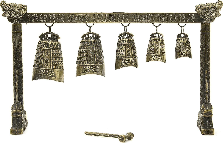 Oriental Furniture Tibetan Five Bell Gong