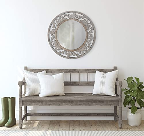 Kate and Laurel Shovali Rustic Round Mirror
