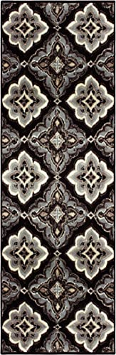 Superior Crawford Collection Area Rug, 8mm Pile Height with Jute Backing, Gorgeous Mediterranean Tile Pattern, Fashionable and Affordable Woven Rugs – 2 7 x 8 Runner, Black