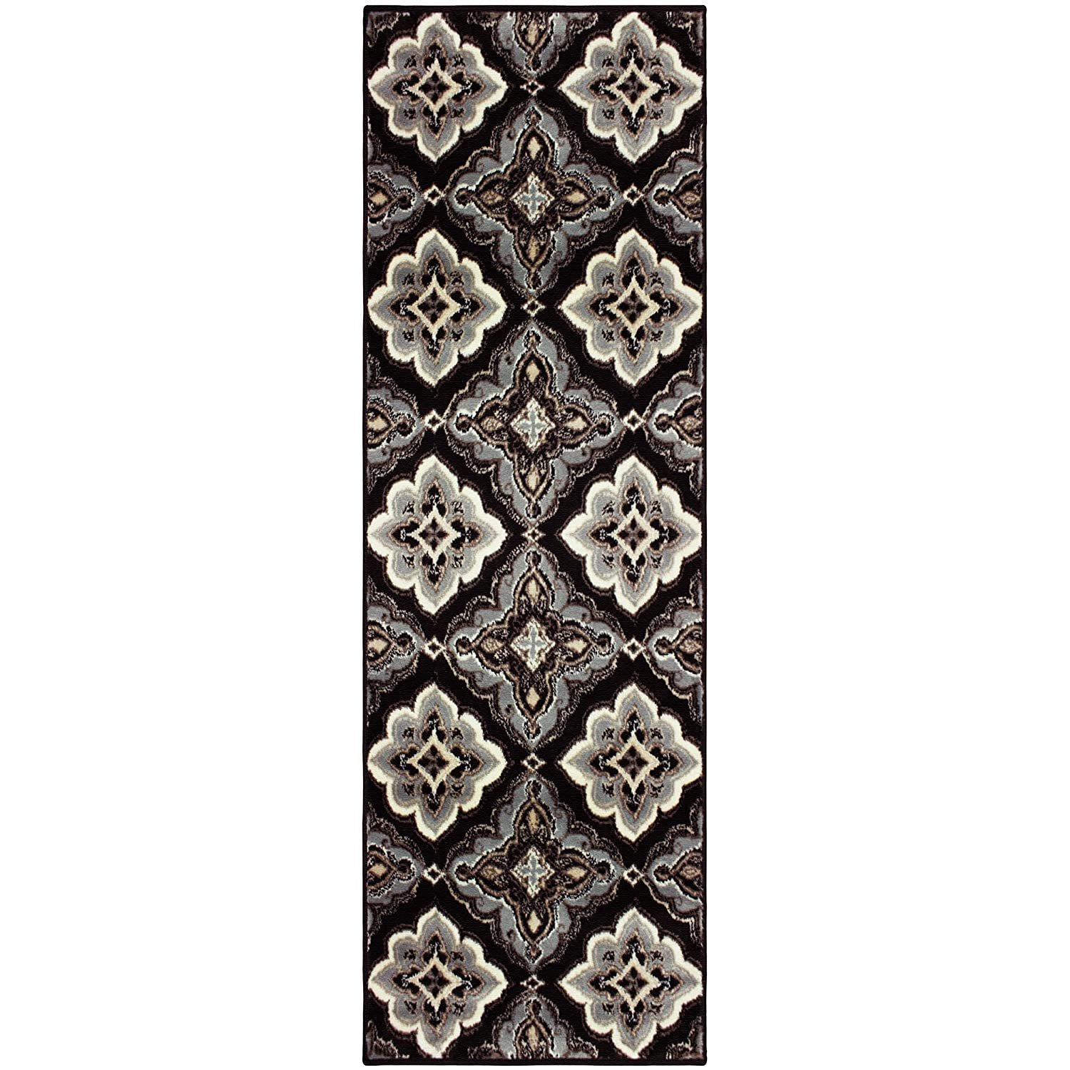 """Superior Crawford Collection Area Rug, 8mm Pile Height with Jute Backing, Gorgeous Mediterranean Tile Pattern, Fashionable and Affordable Woven Rugs - 2'7"""" x 8' Runner, Black"""