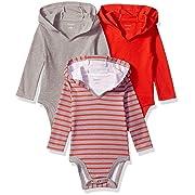 Hanes Ultimate Baby Flexy 3 Pack Hoodie Bodysuits, Red/Grey Stripe, 6-12 Months