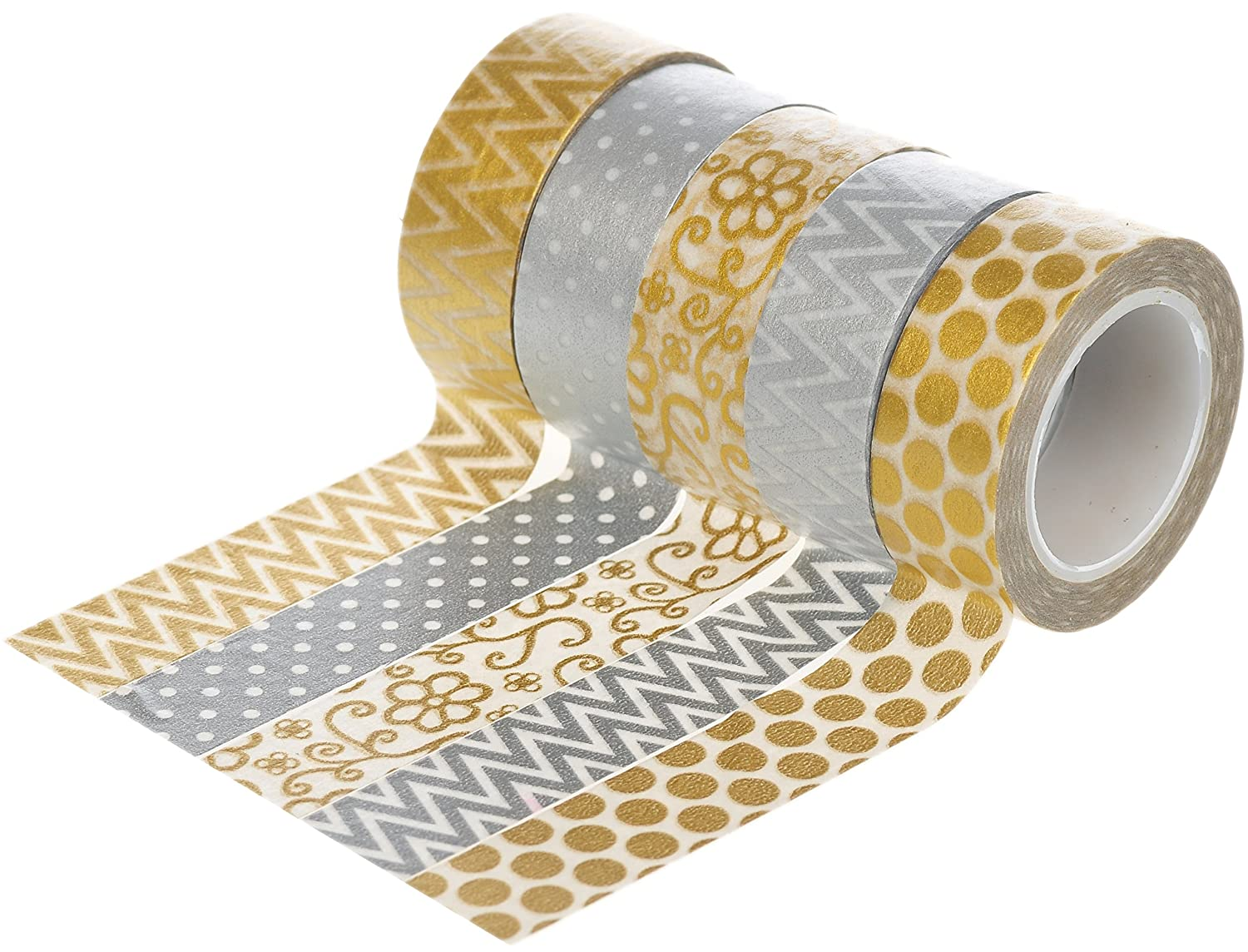 HIART Repositionable Goddess Washi Tape Goddess Repositionable (Set of 5), Oro/Plata by a43d07