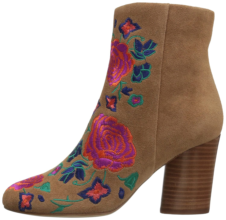 The Fix Women's Nash Floral Embroidery Oval Heel B(M) Ankle Bootie B01MZF94TB 7 B(M) Heel US|Havana Tan 02f0e0