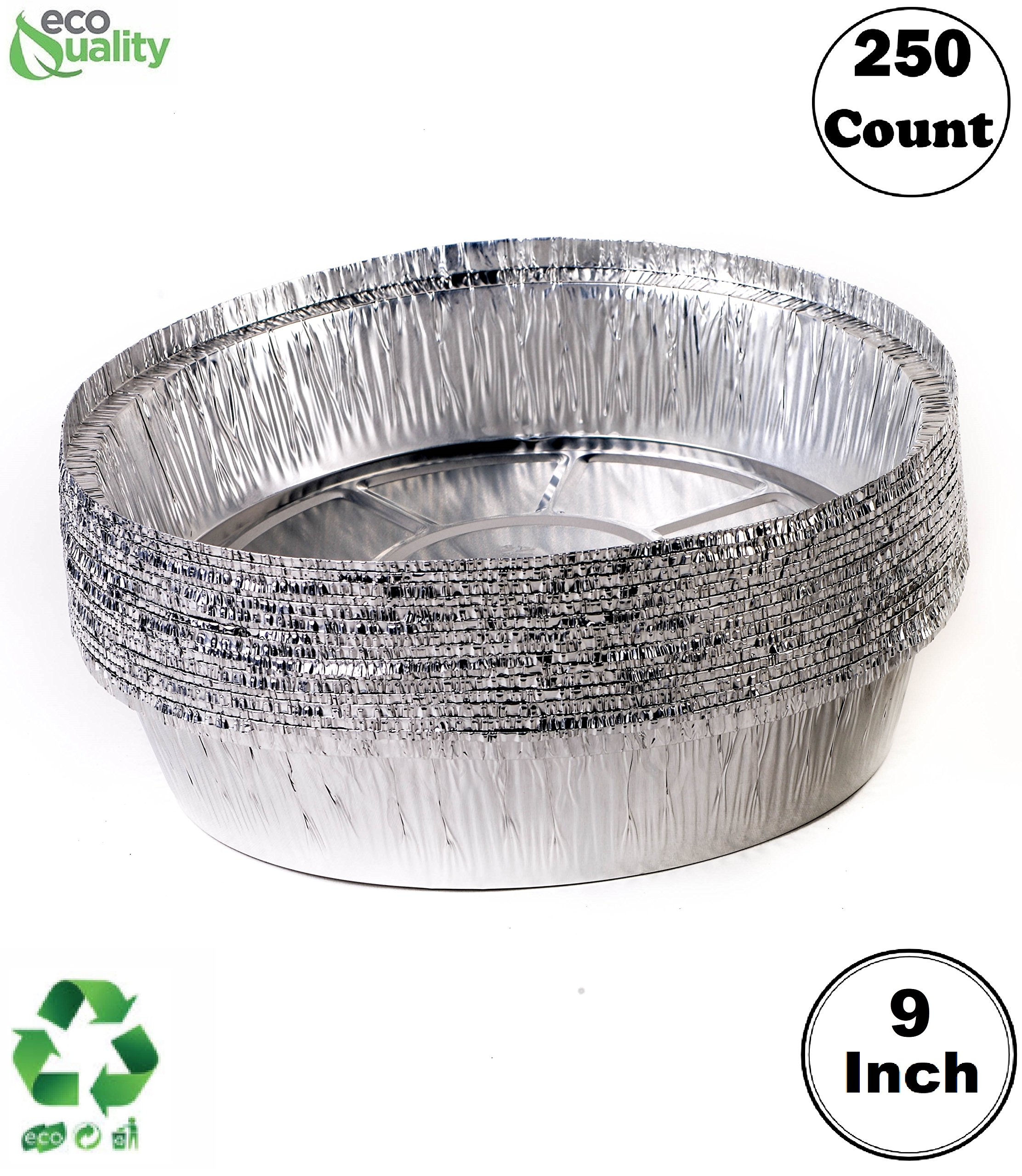 EcoQuality (250 Pack) - 9 Inch Disposable Round Aluminum Foil Take-Out Pans - Disposable Tin Containers, Perfect for Baking, Cooking, Catering, Parties, Restaurants (No Lids)