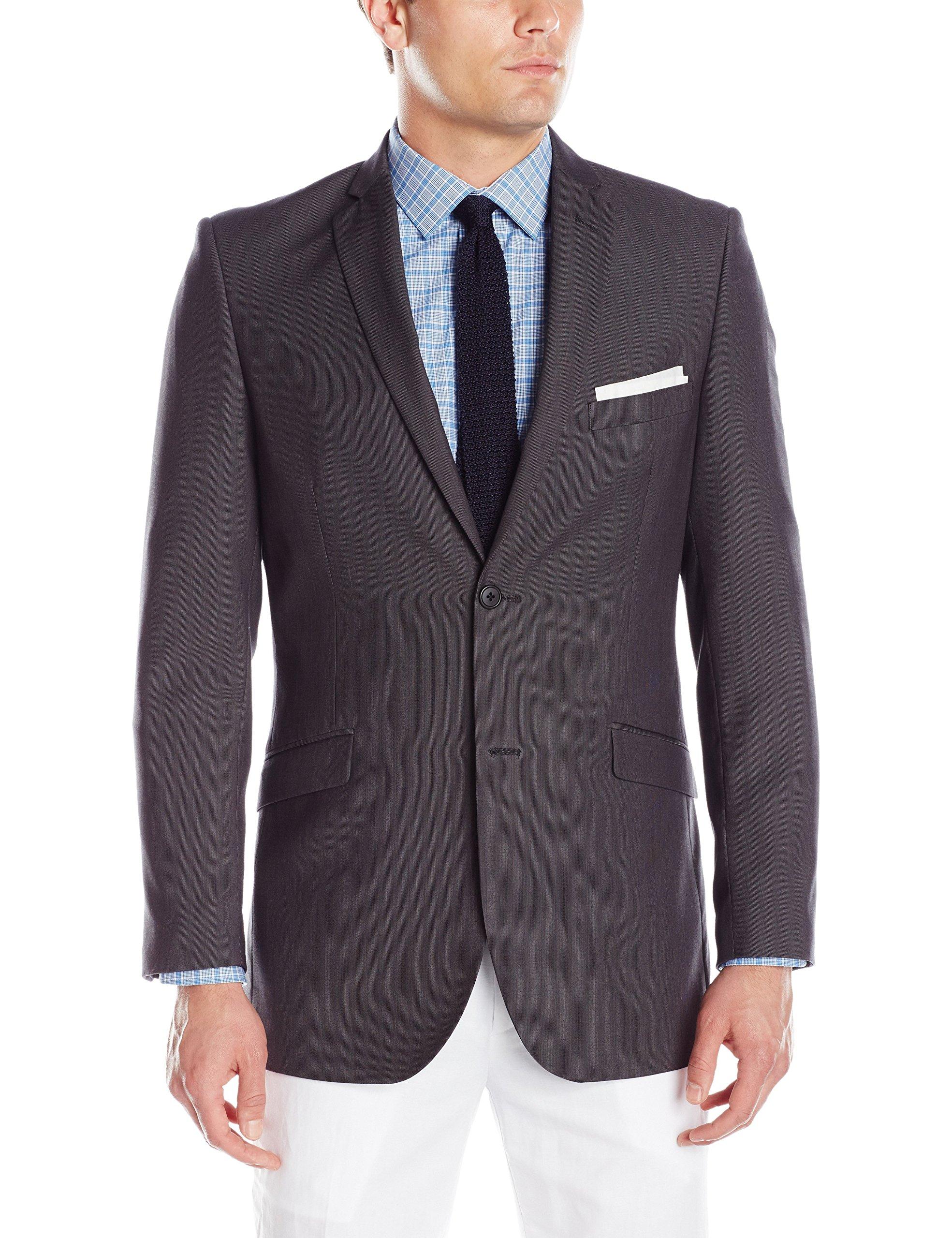 Adolfo Men's Featherbone Slim Fit Micro Tech Suit Jacket, Charcoal, 36 Short