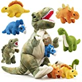 Prextex Plushlings Collection 15 inch Plush Dinosaur T-Rex Tummy Carrier with 5 Cute Little Hatchlings Inside its…