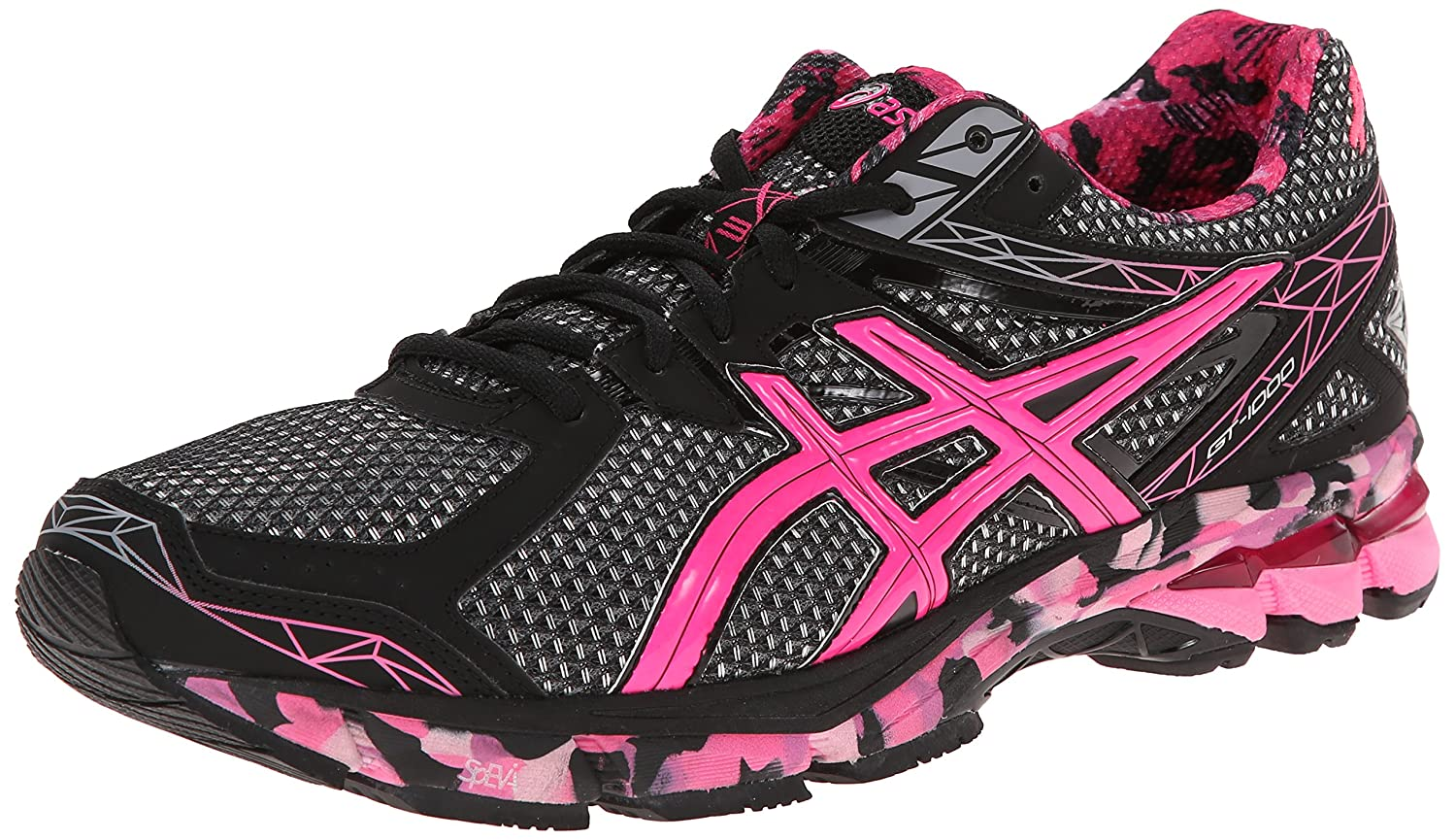 Amazon.com | ASICS Men's GT-1000 3 PR Running Shoe, Black/Hot Pink/Pink  Ribbon, 17 M US | Road Running