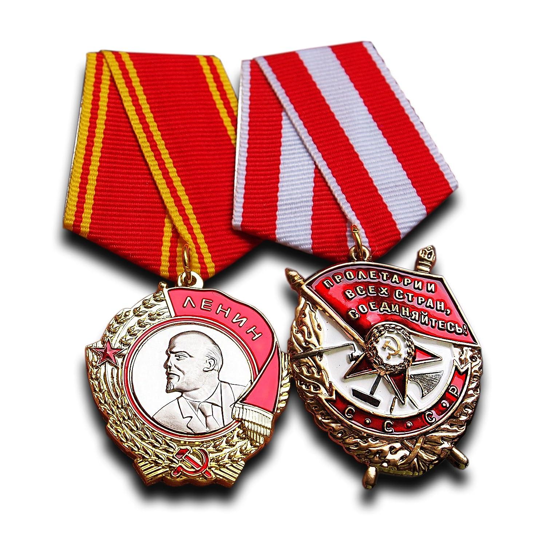 Orden de Lenin, Orden de la bandera roja Set–Highest Soviética militar medalla premio para ejemplar Servicio antiguo reproducción URSS Soviética regalo Trikoty