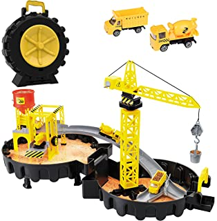 Construction Site Toy with Mini Tower Crane Engineering Kids Playset in Wheel Car Parking Garage |