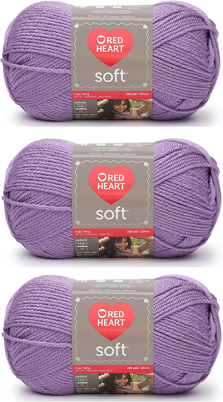 3Pk Coats Yarn E728-9528 Red Heart Soft Yarn-Lilac
