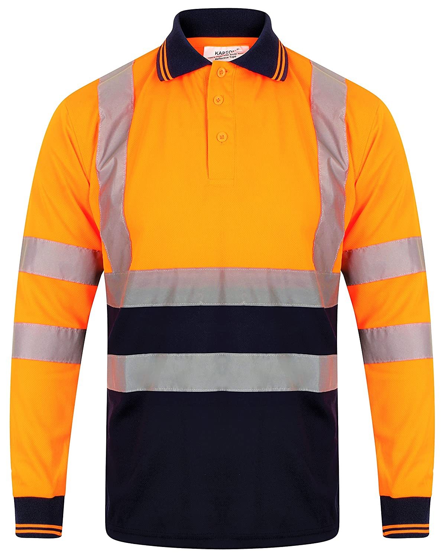 Hi Vis Viz Long Sleeve T-Shirt High Visibility Safety Security Work Breathable Lightweight Reflective Tape Work wear Top