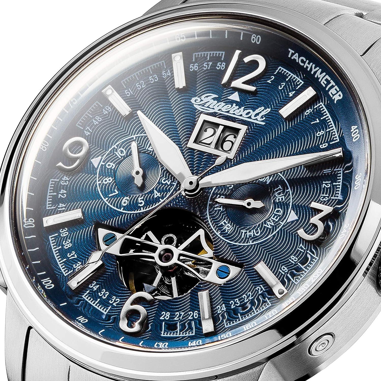 Ingersoll The Regent Automatisk klocka för män I00305 med en marinblå urtavla och ett silverband i rostfritt stål Marinblått Xsp